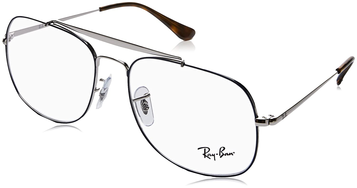 5f4ff5829e Amazon.com  Ray-Ban Men s RX6389 The General Eyeglasses Silver On Top Blue  55mm  Clothing