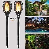 GOGOMYSolar Flame Lights Garden Outdoor Solar Powered Lights - 96 LED Flickering Flame Solar Torch Light Dusk to Dawn Auto On/Off - IP65 Waterproof Solar Lights for Garden Landscape Lighting - 2 Pack
