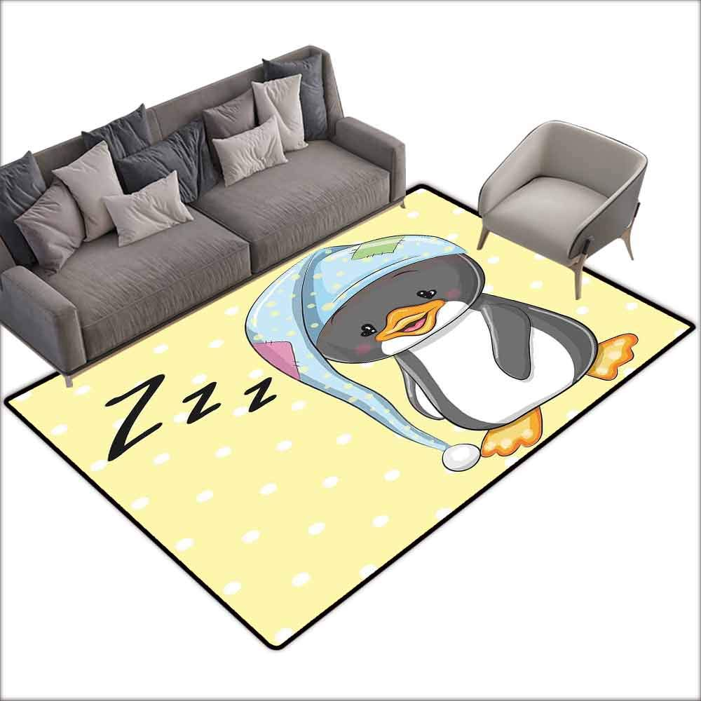 Multi-USE Floor MAT Cartoon,Sleepy Baby Penguin in Hood Ready to Bed Childhood Happy Dream Cartoon Art,Yellow Grey White 80''x 96'',All Weather Floor mats by DayOn Rugs