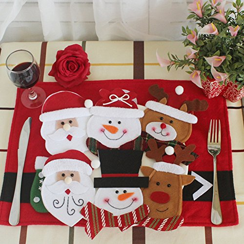 Holders Knife and Fork Bags Table Decoration ,Traditional Santa Suit Christmas Silverware Holder,6 PCS -