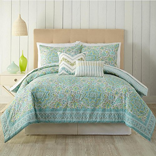 Indigo Bazaar A387A16MUEES Stamped Indian Floral Comforter Set - 5 Pieces King Blue
