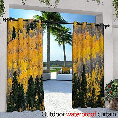 BlountDecor Fall Outdoor Blackout Curtains W84 x L108 Colorful Aspen Forest in Colorado Rocky Mountains Western Wilderness USA Theme Outdoor Privacy Porch Curtains Green Yellow Grey (Colorado Rockies Charm)