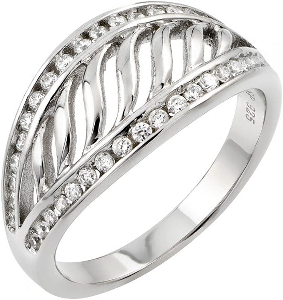 Princess Kylie Clear Cubic Zirconia Overlap Split Shank Ring Rhodium Plated Sterling Silver