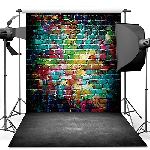 Dudaacvt Graffiti Photography Backdrop, 8x8 ft Colorful Brick Wall Vintage Cement Floor Backdrop for Studio Props Photo Background Q0010808 (Graffiti Brick Wall)