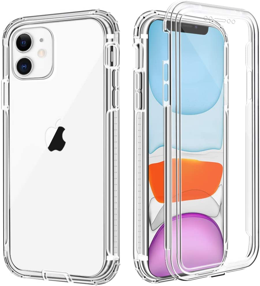 "iPhone 11 Case, Anuck Crystal Clear Full-Body Protective Case with Built-in Screen Protector Heavy Duty Defender Shockproof Hard PC Shell Soft TPU Bumper Cover for Apple iPhone 11 6.1"" 2019 - Clear"
