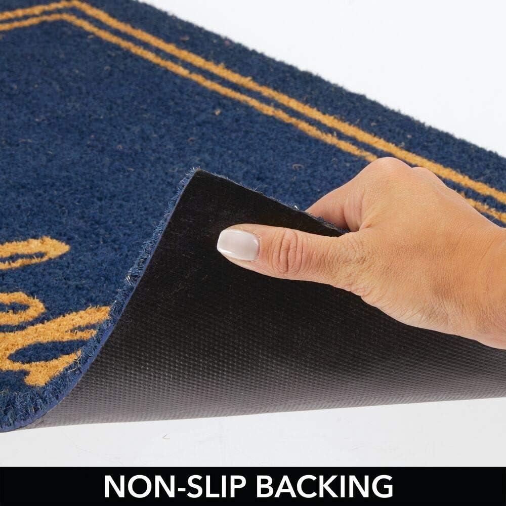 paillasson naturel avec /écriteau pour int/érieur et ext/érieur bleu fonc/é et marron mDesign tapis dentr/ée pratique tapis d/éco en fibre de coco avec /écriteauHello