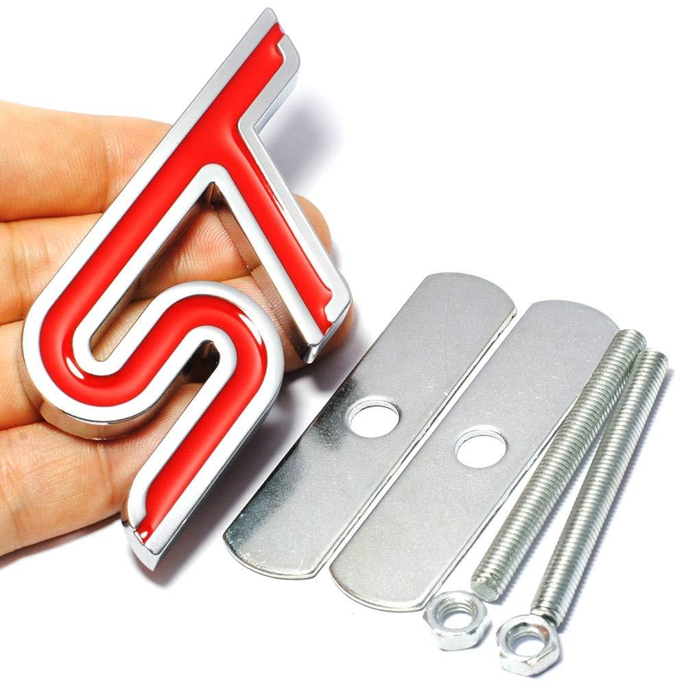 ST Grade Dianteira do Metal 3D Car Styling Adesivo de Carro Cabe/ça Grill Emblema Emblema Etiqueta Chrome para Ford Fiesta FOCO Mondeo Auto