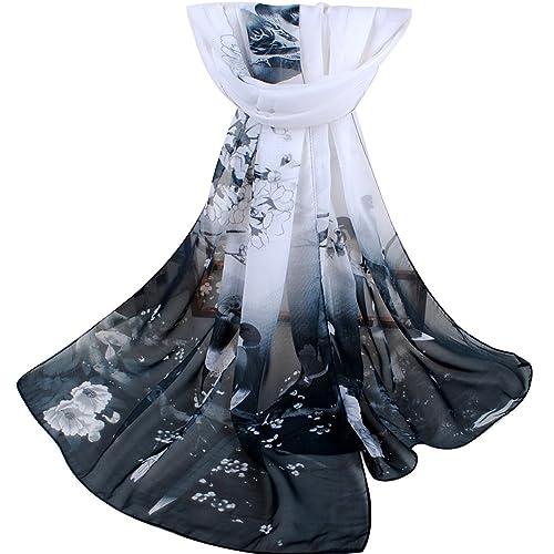 Gemini_mall Womens Lady Flower Printed Soft Chiffon Scarf Stole Scrawl Wrap
