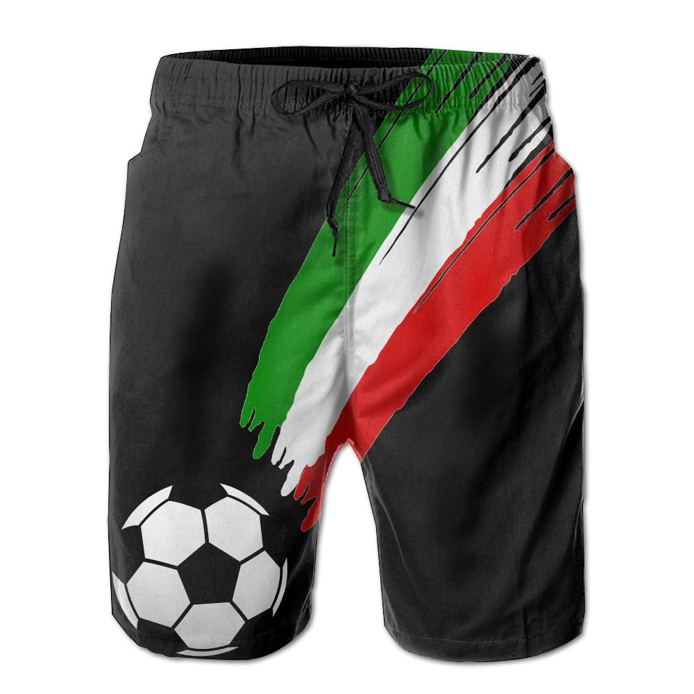 Game Life Shorts Italian Flag and Football Mens Tree Quick Dry Swim Trunks Beach Shorts with Mesh Lining