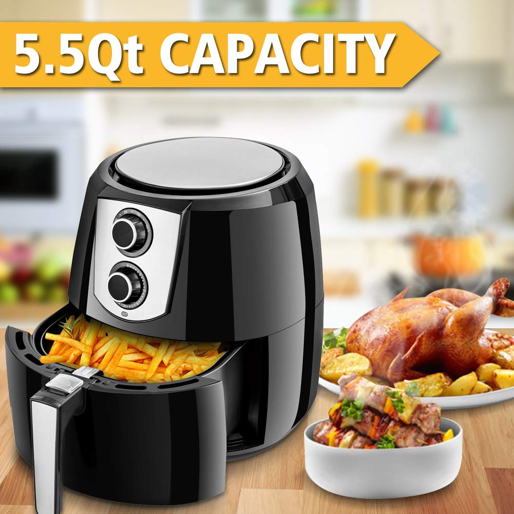 Safeplus 5.5Qt Air Fryer, 1800W Programmable Oil Free Electric Hot Air Fryer, Kitchen Healthy Cooker with Dual Dial Timer Temperature Control Knobs, Family Size XL