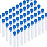 Teenitor 50 Pack Clear Plastic Test Tubes with Blue Caps, 13×78mm