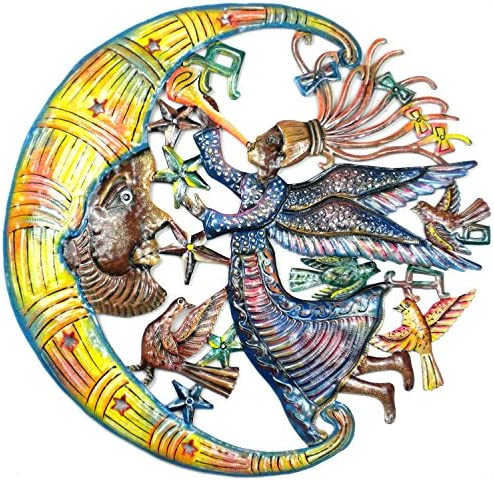 Global Crafts 24″ Recycled Handmade Haitian Metal Wall Art Sun Moon