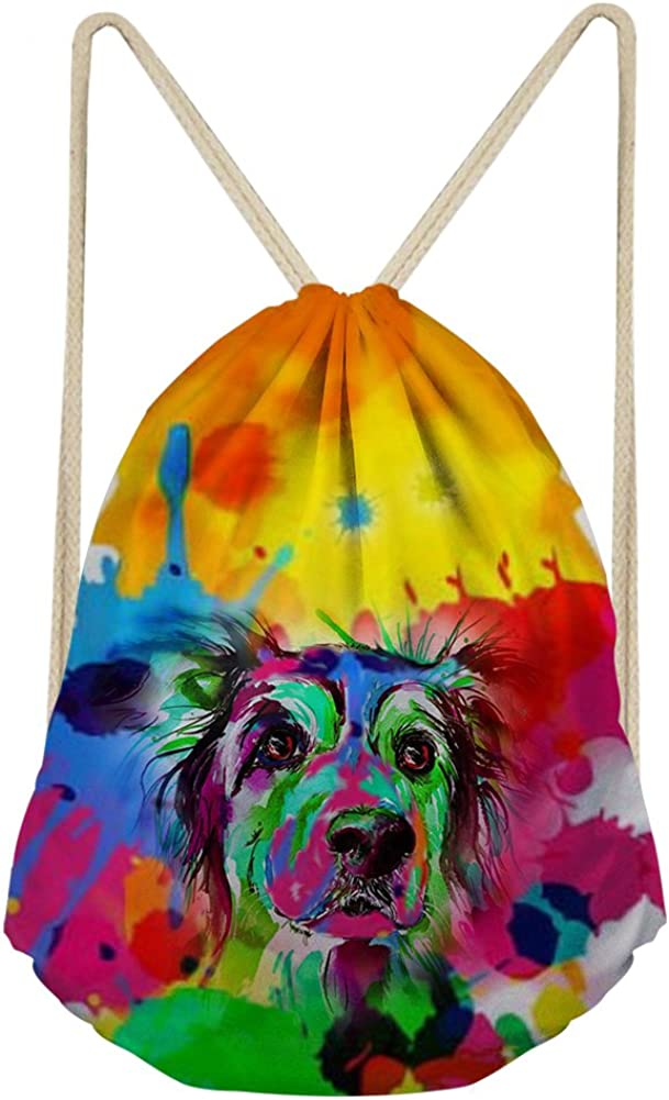 FOR U DESIGNS Colorful Unisex Drawstring Bags Animal Paiting Shoulder Gym Sackpack