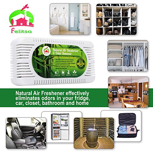 Natural Air Deodorizer And Odor Remover   Activated Bamboo Charcoal Odor  Absorber And Air Purifier   Effective Refrigerator And Closet ...