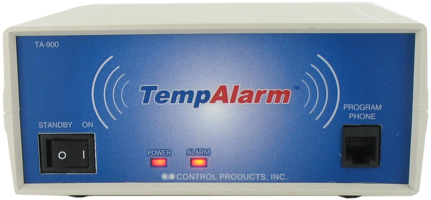 Control Products TempAlarm Custom Dual Temperature and Power Outage Alarm TA-900 with audible alarm with voice message to 3 numbers / Quick Status Check