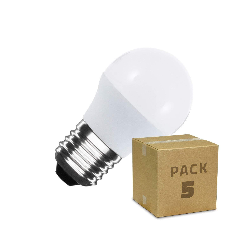 Pack Bombillas LED E27 G45 5W (5 un) Blanco Cálido 2800K-3200K ...