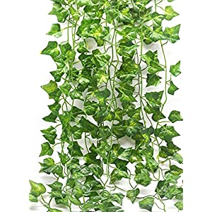 Fake Vines Ivy Leaves Garland 24 Strands-168Ft Artificial Plants Greenery Garland Faux Green Hanging Plant Flowers Vine for Wall Party Wedding Room Home Kitchen Lndoor & Outdoor Decor 69