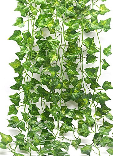 (Fake Vines Ivy Leaves Garland 12 Strands-84Ft Artificial Plants Greenery Garland Faux Green Hanging Plant Flowers Vine for Wall Party Wedding Room Home Kitchen Indoor & Outdoor Decor)