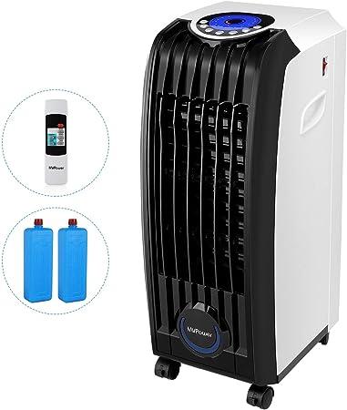 MVPower 3 en 1 Enfriador de Aire, 60W Portátil Climatizador Evaporativo, 3 Velocidades Acondicionado Móvile con Control Remoto y 2 Baterías de Enfriamiento y Temporizador, 5.2 L: Amazon.es: Hogar