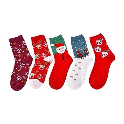 Scrox 5 Pares Calcetines Mujer Invierno Socks Navidad Unisex Casual Caliente Piso Calcetines Espesar Algodón Modernos