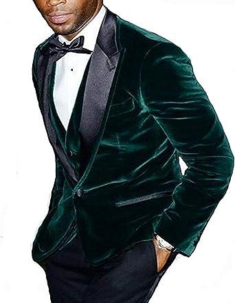 Amazon Com Traje De Tres Piezas Para Hombre Tweed Terciopelo Esmoquin Muesca Groomman Para Boda Blazer Chaleco Pantalones Clothing