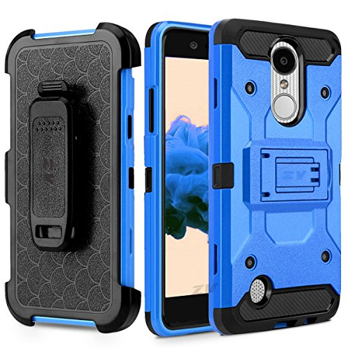 Luckiefind Case Compatible Lg K10 (2018)/Lg K30 Xt410 Heavy Duty Hybrid Side Kickstand Cover Case With Holster Clip & Tempered Glass Screen Protector (Blue) ()