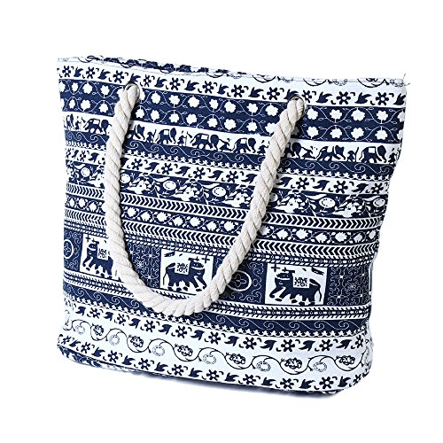 Zip Schultertasche Leisure Canvas Blauer Bag Women's for Elefant Beach Day School with Vancoo travel Shopping at Large Beach holidays pqAwA4z