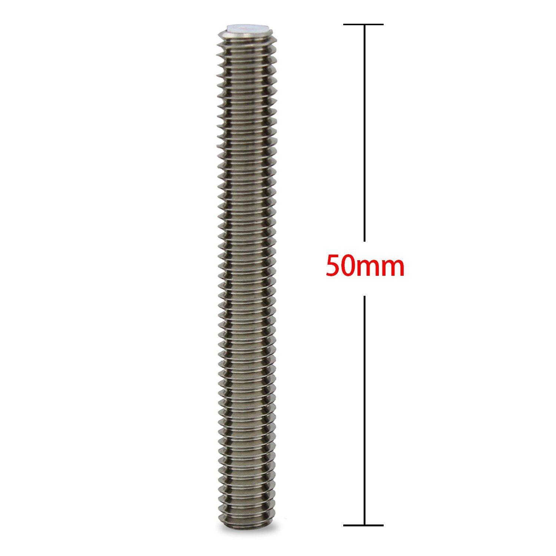 wheatefull 5pcs Barril acero inoxidable boquilla garganta con PTFE tubo 3d impresora extrusora extremo caliente accesorio para MakerBot MK8 5 M6*2.6CM