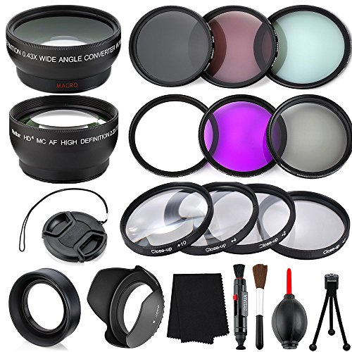 Professional 58MM Lens Bundle Kit, 18 Compact Accessories for Canon