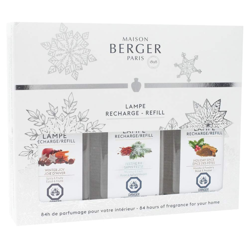 Lampe Berger Fragrance Trio Refill for Home Fragrance Oil Diffuser - 3x6.08 Fluid Ounces - 3x180 milliliters (Trio Winter Joy) by MAISON BERGER