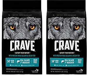 Crave Grain Free Adult Dry Dog Food With Protein From Salmon and Ocean Fish, 4 lb (Pack of 2)