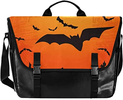 Bat Forest Halloween grande Flapover Messenger Bag Unisex Casual Bolso Crossbody Bolso de lona para ordenador portátil bolso de hombro único bolso de hombro estudiante universidad Satchel