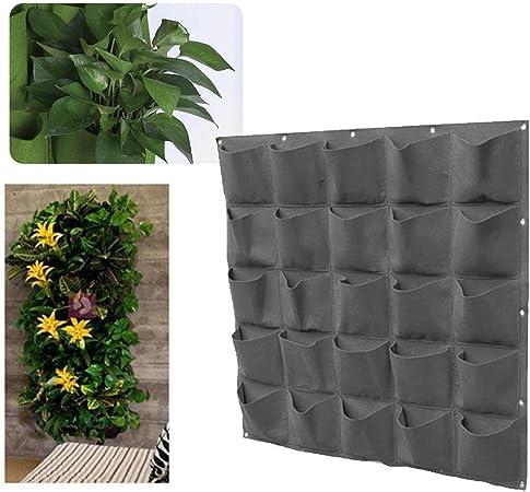 Pawaca Macetero de pared, maceta de pared vertical para jardín, maceta de jardín con bolsillos, bolsas para colgar flores para decoración de interiores o al aire libre., negro, 25 pockets: Amazon.es: Hogar