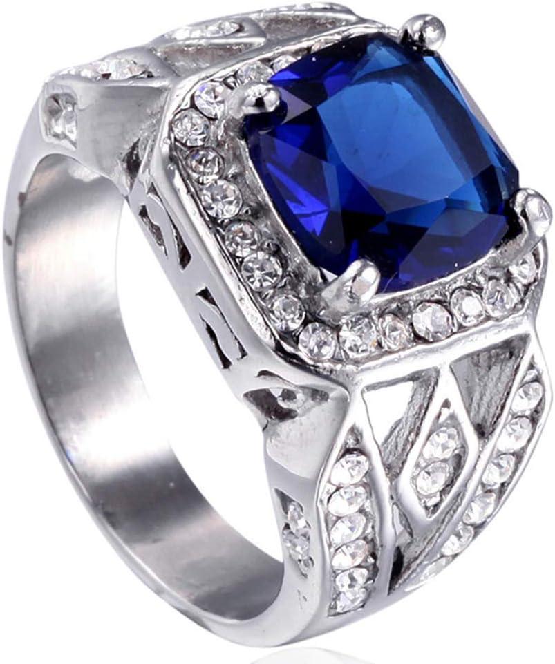 Simplicidad con Estilo Anillos de Diamantes de Piedras Preciosas Vintage para Hombres Anillo de Acero de Titanio, Azul, Talla n, LDS, Plata, n
