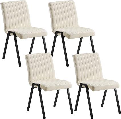 WOLTU 4 X Chaises de Salle /à Manger lassise en Velours Jambe en m/étal,Chaise de la r/éunion Rose BH246rs-4