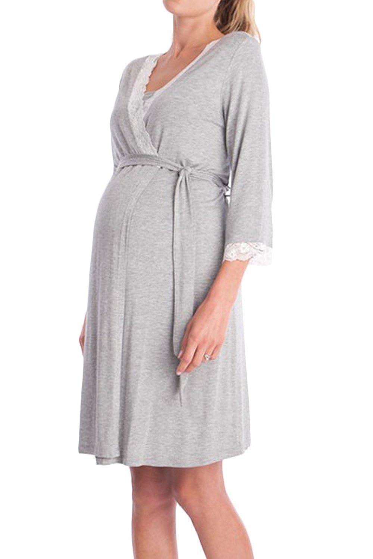 Yacun Vestido Lactancia Maternidad de Noche Camisón Verano Premamá Pijama: Amazon.es: Ropa y accesorios