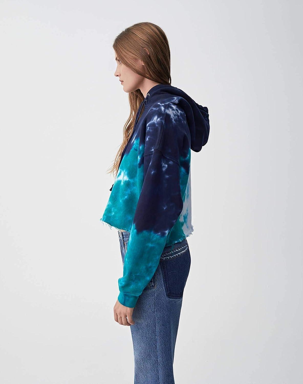 Teal Tie Dye RE//DONE Cropped Raw Hoodie