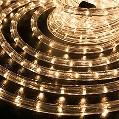 "WYZworks Warm White 1/2"" Thick (10', 25', 50', 100', 150' option) PRE-ASSEMBLED 1/2' LED Rope Lights - Christmas Holiday Decoration Lighting"