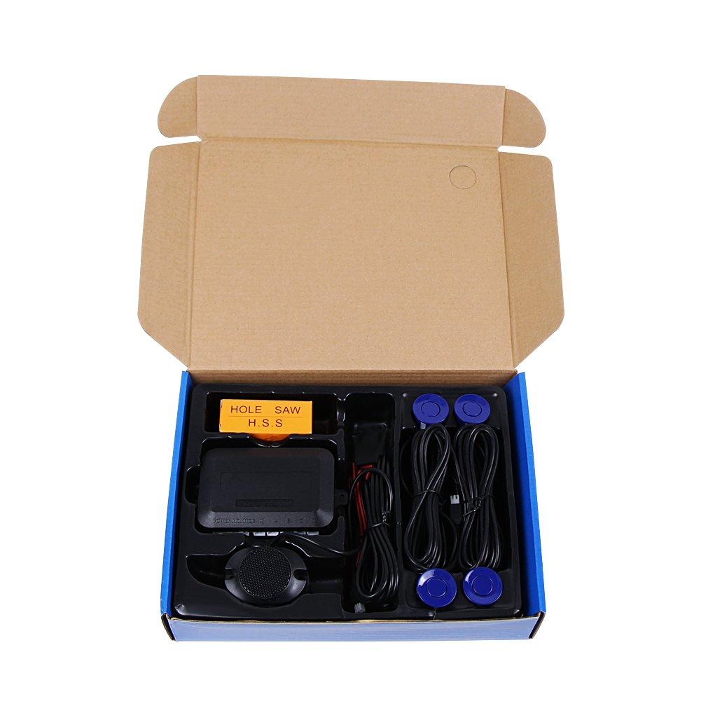 Negro Teckey LED sensor de aparcamiento exhibici/ón de 4 sensores 12V radar monitor sistema para todos los coches