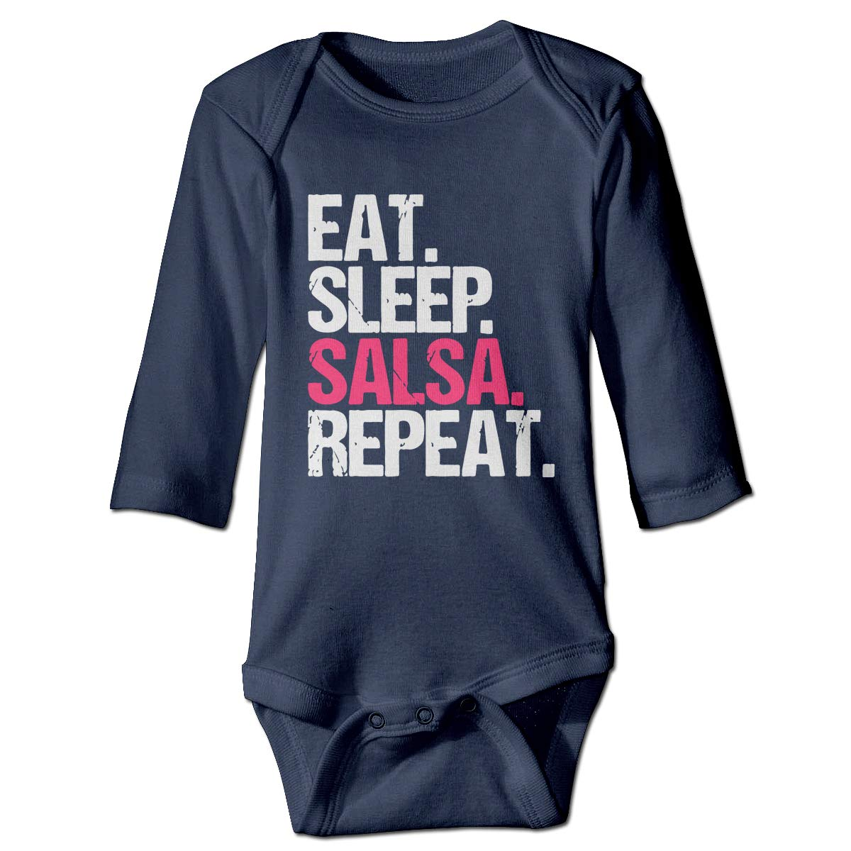 A14UBP Baby Infant Toddler Romper Bodysuit Jumpsuit Eat Sleep Salsa Repeat1 Long Sleeve Funny Baby Clothes