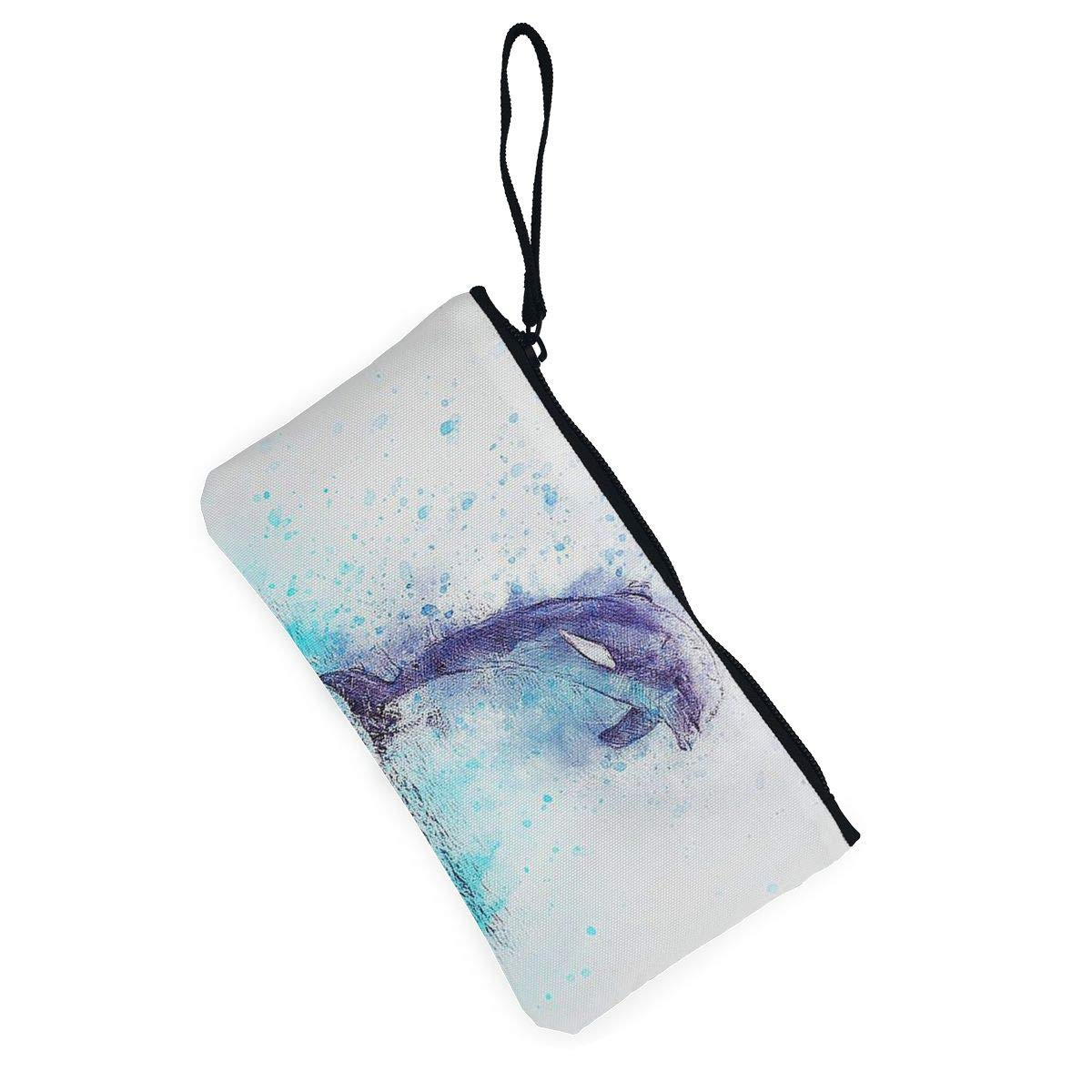 Maple Memories Watercolor Dolphin Animal Portable Canvas Coin Purse Change Purse Pouch Mini Wallet Gifts For Women Girls