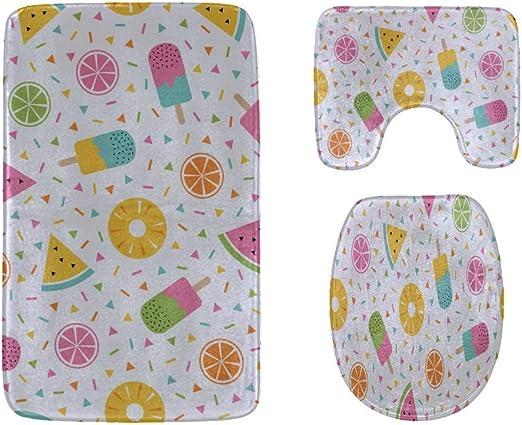 Fruit Print Soft Flanel Nonslip Toilet Seat Cover Warm Mat Purple White