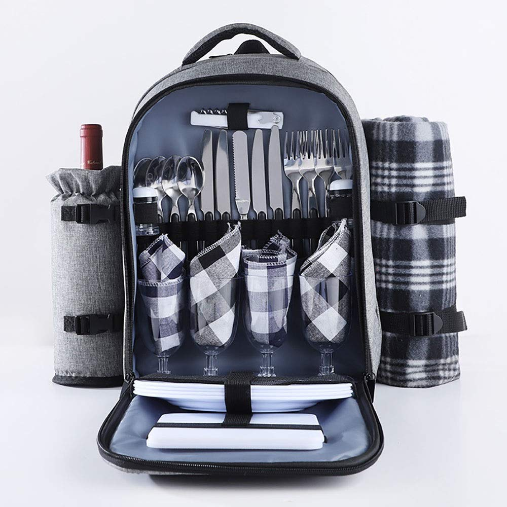Color : Gray, Size : 42x32x22cm KYEEY Picknicktasche Picknick-Rucksack for 4 Person Set-Satz mit Insulated wasserdichte Beutel for Family Outdoor Camping 42x32x22cm Lunchpaket