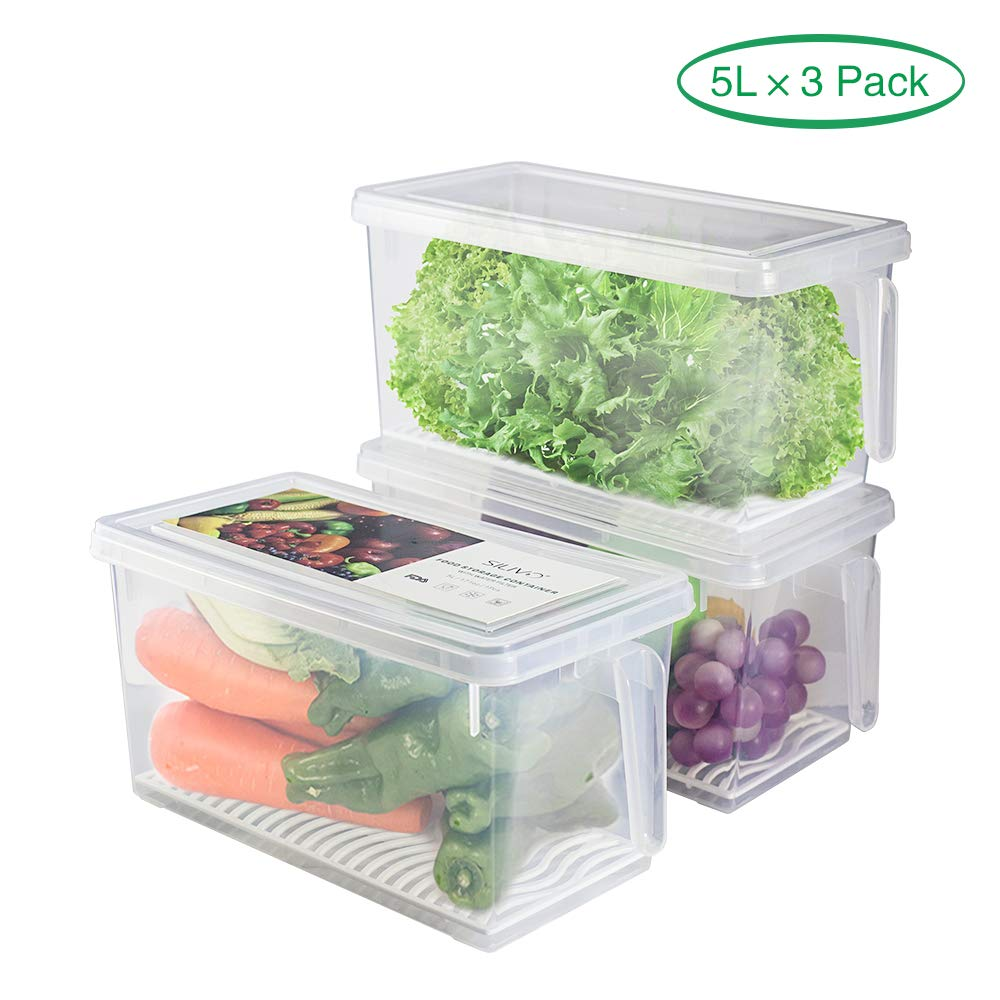 Produce Saver Refrigerator Organizer Bins for Fridge - 5L x 3 SILIVO FreshWorks Stackable Fridge Storage Containers with Removable Drain Tray for Produce, Fruits, Vegetables, Meat and Fish