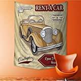 SeptSonne Decorative Wall tapestry Vintage Car Rentals Commercial with Keys Original Dated Objec Decor Bedding 40W x 60L INCH