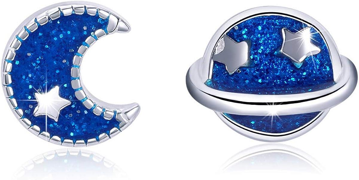 SIMPLOVE Pendientes de Azul Tierra y Luna Plata de ley 925, Aretes para Mujer Asimétricos de Moda, Regalo de Cumpleaños de San Valentín con Caja de Joyas