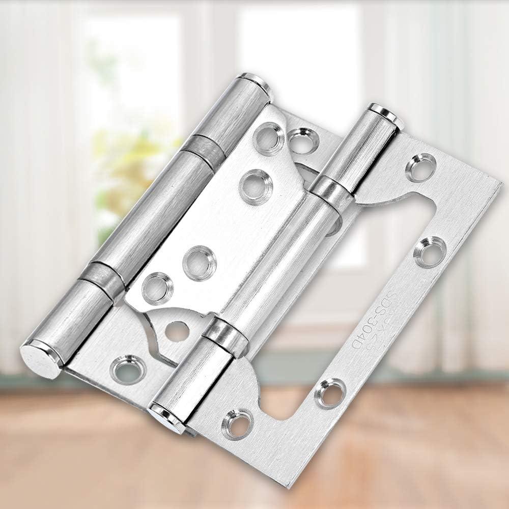Baugger Door Hinges 2pcs Stainless Steel Nickel Door Hinges Heavy Duty Doorhinges Set SS Thickened Door Hinges