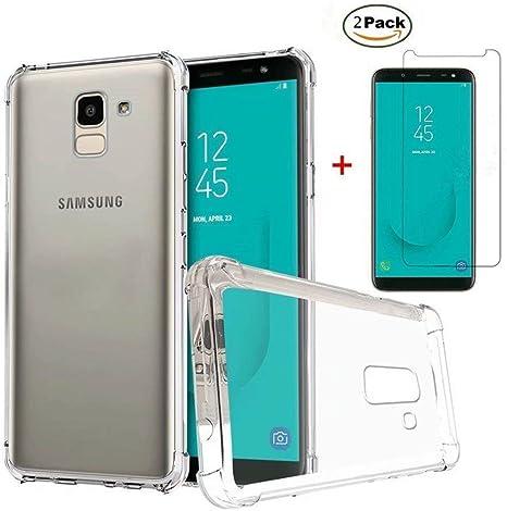 MISSDU Compatible con Funda Samsung Galaxy J6 2018 Funda y Protector de Pantalla *2, Transparente Silicona TPU Fundas Crystal Shell Case Panel Trasero Transparente y Esquinas reforzadas: Amazon.es: Electrónica