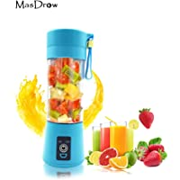 MasDrow Personal Portable USB Rechargeable Mini Juicer Cup, Travel Juice Extractor Mixer, Smoothie Blender, Juicer Machine, 380ml Water Bottle