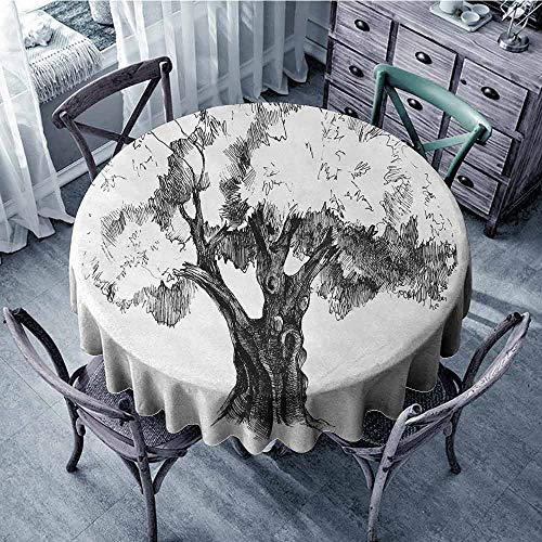 ScottDecor Polyester Round Tablecloth Tree,Sketch Artwork of Olive Tree Foliage Mediterranean Fruit Nature Garden Concept Print,Black White Jacquard Tablecloth Diameter 36